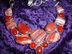 Red Snake Skin Jasper and Carnelian Statement by SupplyWizard, $45.00