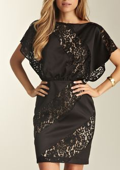 Dolman Sleeve Lace Panel Dress