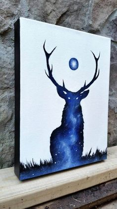 deer painting, galaxy canvas painting, deer canvas, space painting, space deer art, boho hippie decor, deer silhouette painting, moon art, moon painting, moon canvas    by the mind blossom