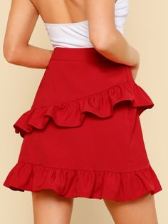 To find out about the Asymmetric Layered Ruffle Skirt at SHEIN, part of our latest Skirts ready to shop online today! Chiffon Skirt, Ruffle Skirt, Dress Skirt, Skirt Mini, Casual Dresses, Summer Dresses, Skirt Outfits, Short Skirts, Skirt Fashion