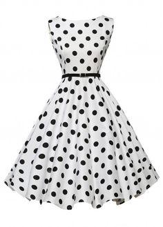 Vintage 50S Style White & Black Polka Dot Print Swing Dress, Free Shipping!