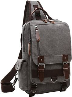 e8a519369679 Mygreen Sling Backpack for Men and Women One Shoulder Single Strap Backpacks  Canvas Laptop Cross Body Messenger Sling Bag Pack for Travel School Outdoor  ...
