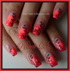 It`s all about nails: Neon Gradient & Flowers