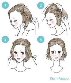 10 penteados básicos para fazer nos cabelos de forma rápida e sem ter muito trabalho. Tutorial em desenho.