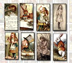Alice in Wonderland Collage Sheet White Rabbit Alice In Wonderland, Alice In Wonderland Vintage, Tarot, Planners, Domino Jewelry, Scrapbook Supplies, Collage Sheet, Digital Collage, Vintage Images