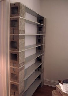 Tall Narrow Grey Concrete Block Open Shelves Having 8 Gray Wooden Trays Attached On White Painted Wall, Remarkable Fancy Cinder Block Shelves For Alternative Home Furniture: Furniture Shelves, Diy Furniture, Bookshelves Diy, Home, Diy Shelves, Cinder Block Shelves, Home Decor Tips, Furniture Design, Shelving
