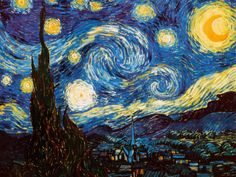 "Vincent Van Gogh's genius shines in the swirled brushstrokes, vivid colors and distorted forms of ""STARRY NIGHT.""   His most famous painting was done completely from memory, as Van Gogh was institutionalized at the time. - It now hangs in the permanent collection in New York's Museum of Modern Art."