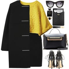 Mellow yellow by endimanche on Polyvore featuring Balenciaga, Donna Karan, Francesco Russo, Chloé, Marc Jacobs, Thierry Lasry, Clarins and Chanel