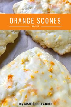 These buttery and light scones are loaded with orange flavor from both orange juice and orange zest. These are my take on Panera's orange scones. Enjoy for breakfast, brunch, or as a sweet treat with afternoon tea or coffee. Köstliche Desserts, Delicious Desserts, Yummy Food, Health Desserts, Summer Desserts, Brunch Recipes, Sweet Recipes, Breakfast Recipes, Brunch Ideas