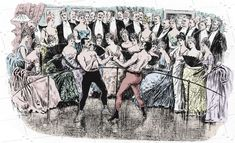 Boxing match print from Victorian Engraving Hand coloured Vintage sports print Boxing art Man Cave Wall Art Best gift Idea for Fathers Day