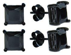 Authentic Black Enamel #Stud #Earrings Sterling