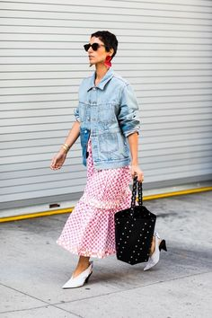Ruffled with polka dotted prints   For more style inspiration visit 40plusstyle.com