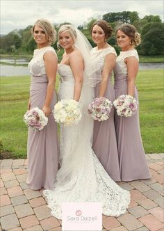 Lace wedding dress and bridesmaids
