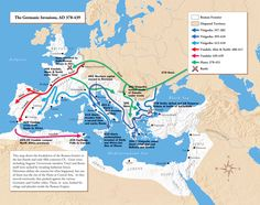 ROMAN EMPIRE: GERMANIC INVASIONS • last united Empire under Emperor Theodosius who dies 395AD...RE became too vast/unstable to rule – ripe time for invaders • Provincials became less willing / able to pay taxes to central gov, esp. since Empire wouldn't protect them anymore • turning point: Germanic Visigoth tribe King Aleric beats Rome 1st time in 800 years, in 410AD • Rome went from city state in 500BC, Republic 509BC, empire 27BC, split E/W in 400sAD...