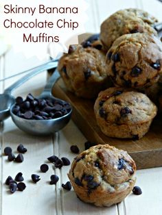 Skinny Banana Chocolate Chip Muffin Recipe - low sugar, low fat, whole grains - perfect for breakfast or healthy snack - get baking! | thefitfork.com