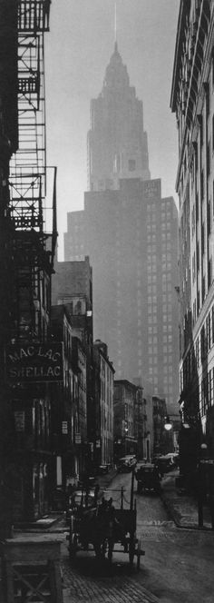 Manhattan, New York 1935 (by Berenice Abbott) - Mac Lac Shellac at 80 Cliff St., between Water and Gold Sts., near Wall St.