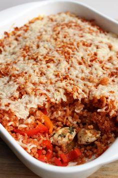 Ovenschotel met rijst, kip en paprika