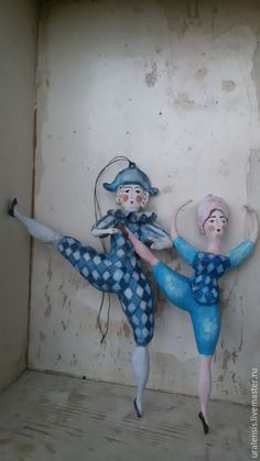 Коллекционные куклы ручной работы. Ярмарка Мастеров - ручная работа. Купить Ёлочная ватная парочка. Handmade. Синий, Новый Год
