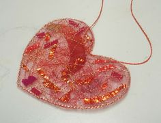 tulle doodads -  the only supplies you need are some tulle and some Solvy. Tips for this cute heart Valentine by Kathleen Loomis; thanks!