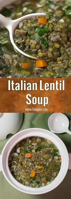 This Italian Lentil soup recipe makes a hearty winter soup full of delicious vegetables and a scrumptious Italian sausage made with turkey that brings everything together. #soups #recipes #lentilsoup