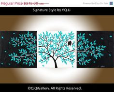 """Romantic Painting Abstract Painting Landscape Painting Impasto Painting Palette Knife Love Birds Painting Tree Painting """"Life Is Beautiful"""""""
