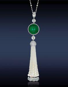 Art Deco Diamond Emerald And Pearl Tassel Sautoir