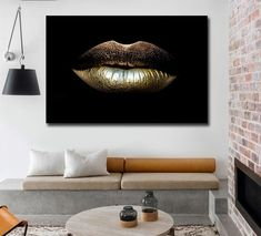 Modern Pictures, Home Pictures, Pictures To Paint, Living Room Paint, Living Room Decor, Gold Lips, Nordic Art, Living Room Pictures, Rooms Home Decor