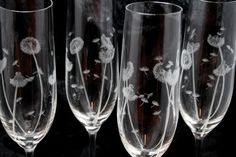 Set of Hand Engraved Dandelion Champagne by VictoriaLucyDesigns