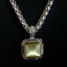 Premier Designs Silver/ Gold Tone Necklace Premier Designs Silver/ Gold Tone Necklace with Light Green Square Drop Down Pendant. Premier Designs Jewelry Necklaces