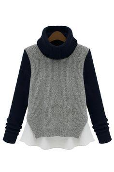 eaad64307f Shop the latest street style fashion designer women sweater cardigan online  Color Block turtleneck raglan chunky sweater sheer chiffon layer vince ...