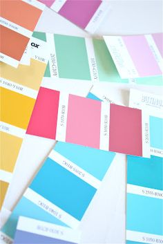 paint swatches, find your wedding colors and keep several copies on hand in your binder to show vendors for reference Paint Swatches, Color Swatches, Paint Chips, World Of Color, Pastel, Spring Colors, Color Patterns, Color Inspiration, Wedding Colors