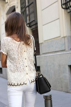 cream lace button-back top + white skinny jeans