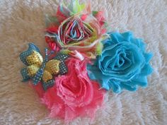 Trio Shabby Hair Bow Hot Pink and Aqua Shabby by preciouscurls
