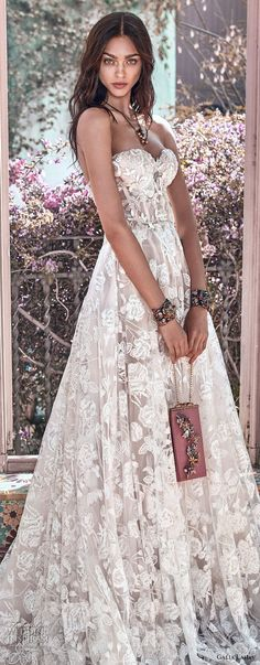 galia lahav spring 2018 bridal strapless sweetheart neckline full embellishment romantic princess a  line wedding dress mid back chapel train (georgia) zv -- Galia Lahav Spring 2018 Wedding Dresses