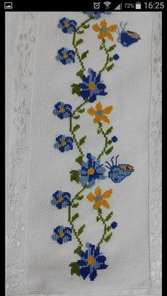 This Pin was discovered by Azr Butterfly Cross Stitch, Cross Stitch Bird, Cross Stitch Borders, Simple Cross Stitch, Cross Stitch Flowers, Cross Stitch Charts, Cross Stitch Designs, Cross Stitching, Cross Stitch Patterns