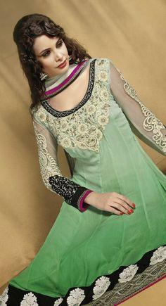 Marvelous Green & Off White Salwar Kameez