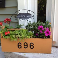 Address/flowerpot made out of old tool box