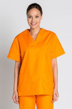Tunique médicale orange unisexe col en V -Casaque médicale orange