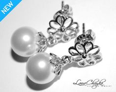 Wedding Flower Girl Gift Earrings Swarovski White Pearl Flower Rhodium Silver Studs FREE US Shipping