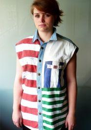Stripes + vest + black leggins = perfect outfit  #vintage www.secondoutfit.cz