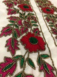 Herb Embroidery, Zardosi Embroidery, Embroidery On Kurtis, Kurti Embroidery Design, Hand Embroidery Dress, Bead Embroidery Patterns, Embroidery Works, Simple Embroidery, Hand Embroidery Stitches