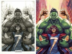 """#Hulk #Fan #Art. (Champions#1 Variant """"Ms Marvel and Totally Awesome Hulk and """"Black and White"""") By: Artgerm. ÅWESOMENESS!!!™ ÅÅÅ+"""
