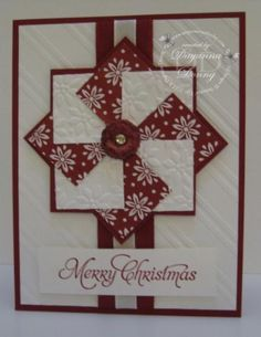 """Christmas Pinwheel by jaydee - Cards and Paper Crafts at Splitcoaststampers Stamps: More Merry Messages Ink: Cherry Cobbler Accessories: 1 1/4"""" Square Punch, Petals a Plenty and Stylish Stripes Embossing Folders Techniques: Pinwheel"""