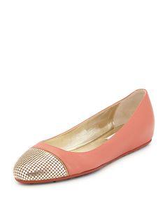 Waine Metal Mesh-Toe Ballerina Flat, Agate/Gold, Size: 38.5B/8.5B - Jimmy Choo