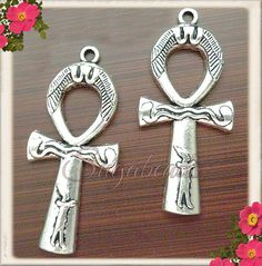 4 Decorated Antiqued Silver Egyptian Ankh or Cross by sugabeads, $2.50