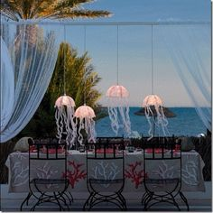 under the sea cabo wedding decor - love these lights!