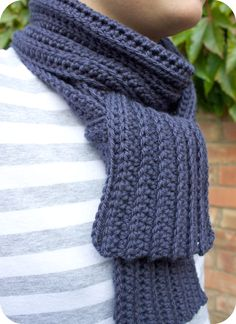 Pink Milk: Show And Tell - men's crocheted ribbed scarf (includes how-to).