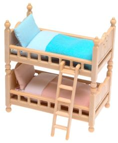 http://homeforfuture.com/pinnable-post/calico-critters-bunk-beds These comfy beds come complete with 2 mattresses, 2 pillows and 2 blankets (pink for the girl, blue for the boy!). There's even a ladder to climb to the top bunk. The bunk beds also separate into 2 single beds. Critters not included.