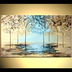 ORIGINAL Abstract Landscape Painting Palette Knife by OsnatFineArt, $399.00