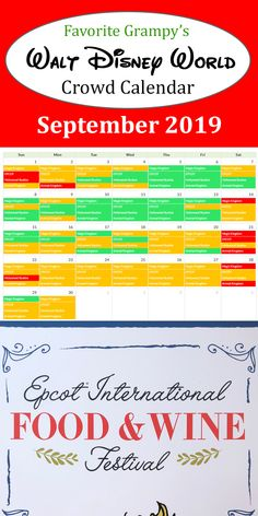 Our Disney World Crowd Calendar shows the best days to visit each Park during your vacation - Magic Kingdom, Epcot, Hollywood Studios, and Animal Kingdom. Disneyland World, Disney World Parks, Disney World Resorts, Disney Vacations, Disney Trips, Disney Travel, Festival Dates, Wine Festival, Disney Crowds